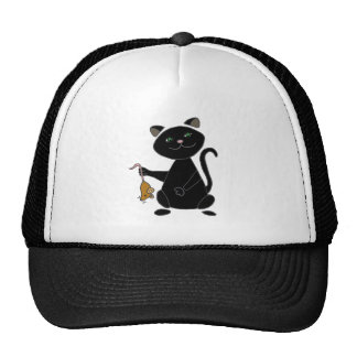 Funny Black Cat Holding Brown Mouse Trucker Hat