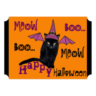 Funny Black Cat in a Witch Hat Halloween Invite