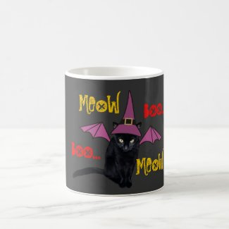 Funny Black Cat in a Witch Hat Halloween Mug