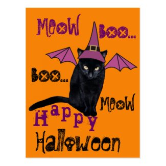 Funny Black Cat in a Witch Hat Halloween Postcard