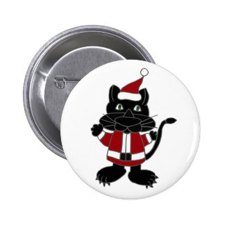 Funny Black Cat in Santa Outfit Christmas Cartoon Pinback Buttons