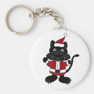 Funny Black Cat in Santa Outfit Christmas Cartoon Key Chain
