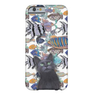Funny black cat looking at fish tank barely there iPhone 6 case
