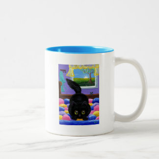 Funny Black Cat Mouse Bed Creationarts Two-Tone Coffee Mug