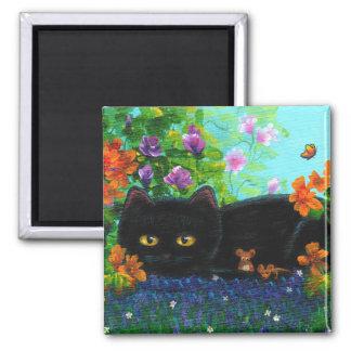Funny Black Cat Mouse Flowers Creationarts Magnet