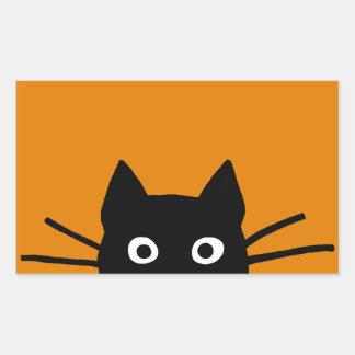 Funny Black Cat Rectangular Sticker
