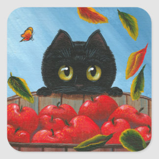 Funny Black Cat Red Apples Creationarts Square Sticker