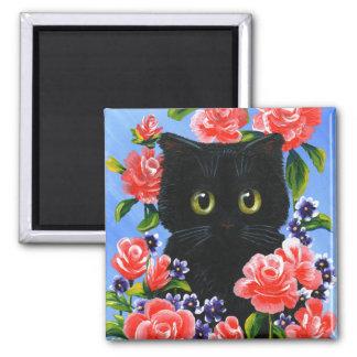 Funny Black Cat Roses Creationarts Magnet