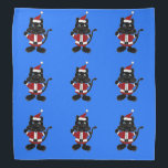 """Funny Black Cat Santa Christmas Design Bandana<br><div class=""""desc"""">Wonderful funny black cat wearing a Santa Claus outfit original Christmas art.  Can also add custom text and change background color when ordering.</div>"""