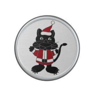 Funny Black Cat Santa Christmas Design Bluetooth Speaker