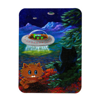 Funny Black Cat UFO Tabby Cat Flying Saucer Magnet