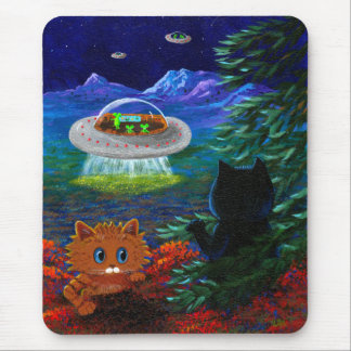 Funny Black Cat UFO Tabby Cat Flying Saucer Mouse Pad