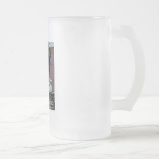 Funny black cat vintage baking powder poster ad frosted glass beer mug