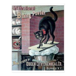 Funny black cat vintage baking powder poster ad postcards
