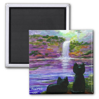 Funny Black Cat Waterfalls Creationarts 2 Inch Square Magnet