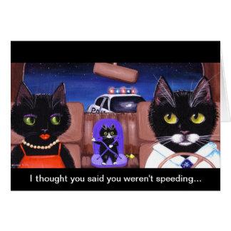 Funny Black Cats Police Car Creationarts Art Greeting Card