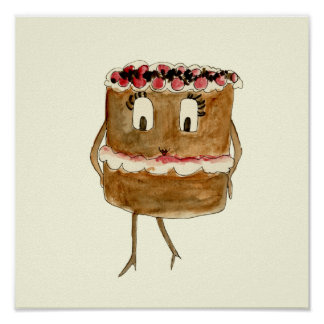 Funny Black Forest Gateau Quirky Watercolour Art Poster