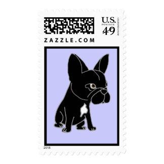 Funny Black French Bulldog Puppy Dog Stamp