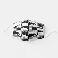 Funny Black, Gray and White Kitty Cats Adult Cloth Face Mask