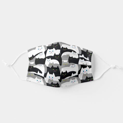 Funny Black Gray and White Kitty Cats Adult Cloth Face Mask