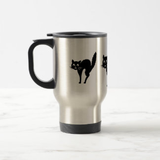 funny black Halloween cat with arched back Coffee Mug