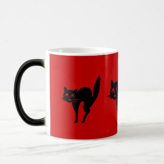 funny black Halloween cat with arched back Mugs