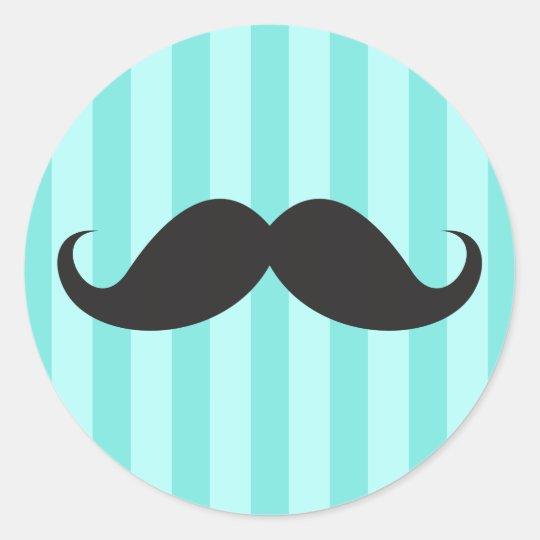 Funny black handlebar mustache moustache aqua blue classic round sticker
