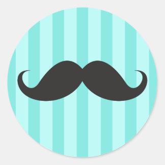 Funny black handlebar mustache moustache aqua blue sticker