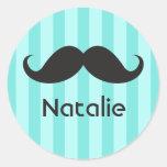 Funny black handlebar mustache moustache aqua name round stickers