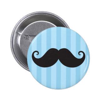 Funny black handlebar mustache moustache blue pinback button