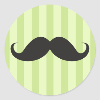 Funny black handlebar mustache moustache green classic round sticker