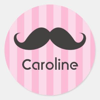 Funny black handlebar mustache moustache pink name classic round sticker