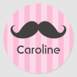 Funny black handlebar mustache moustache pink name stickers