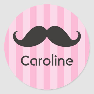 Funny black handlebar mustache moustache pink name classic round sticker