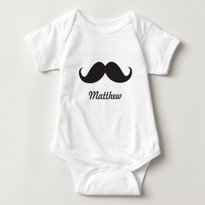 Funny black handlebar mustache stache personalized baby bodysuit