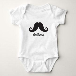 Funny black handlebar mustache stache personalized baby bodysuit