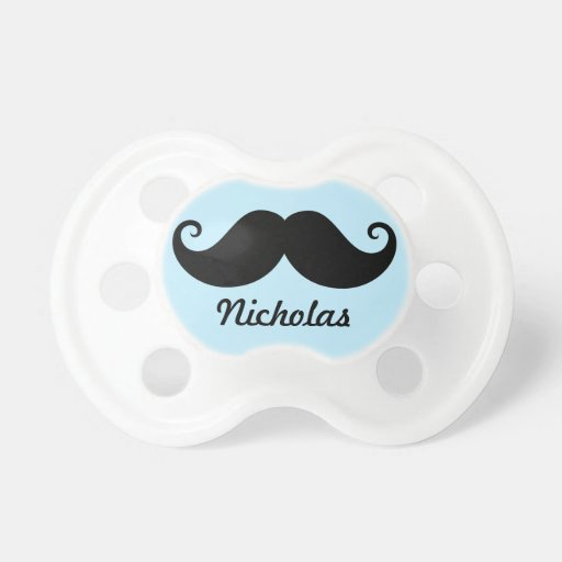 Funny black handlebar mustache stache personalized baby pacifier