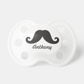 Funny black handlebar mustache stache personalized pacifier