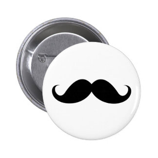 Funny black handlebar mustache trendy hipster 2 inch round button