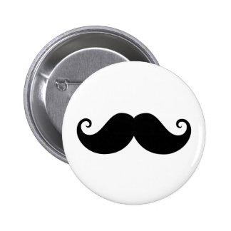 Funny black handlebar mustache trendy hipster button