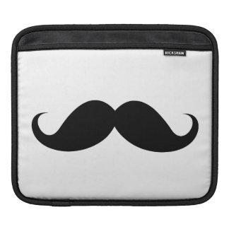 Funny black handlebar mustache trendy hipster iPad sleeve