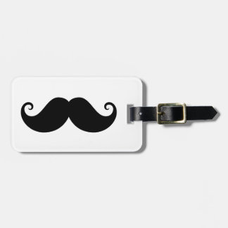 Funny black handlebar mustache trendy hipster luggage tag