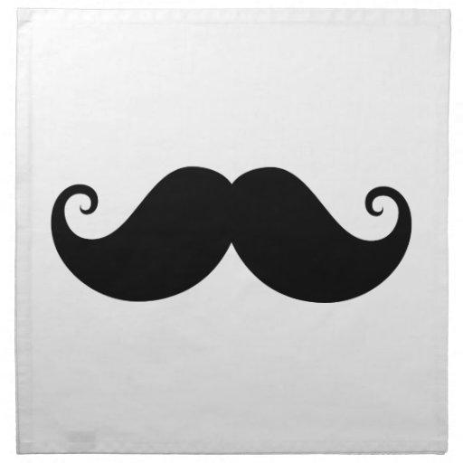 Funny black handlebar mustache trendy hipster printed napkin