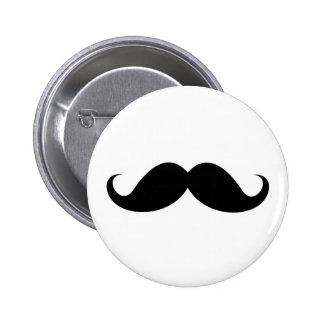 Funny black handlebar mustache trendy hipster pinback button