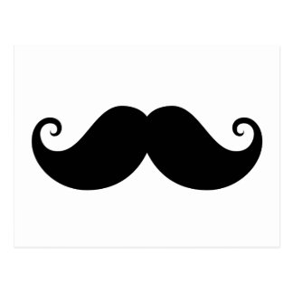 Funny black handlebar mustache trendy hipster postcard