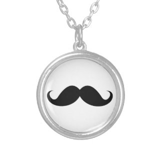Funny black handlebar mustache trendy hipster round pendant necklace