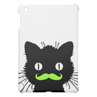 FUNNY BLACK KITTY LIME GREEN RETRO MUSTACHE iPad MINI COVERS