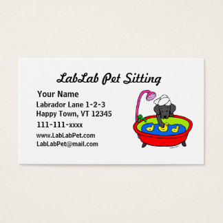 Funny Black Lab Cartoon Pet Sitting Business Card