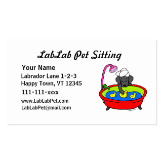 Funny Black Lab Cartoon Pet Sitting Double-Sided Standard Business Cards (Pack Of 100)