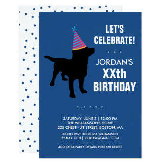 Funny Black Lab Dog Birthday Party Invitation